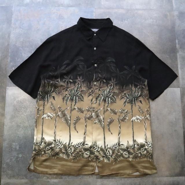 Black aloha design shirt