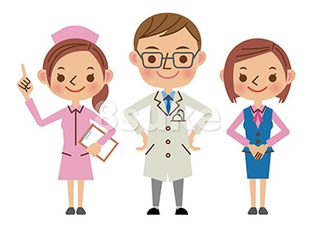 イラスト素材:医者・看護師・医療事務(ベクター・JPG)