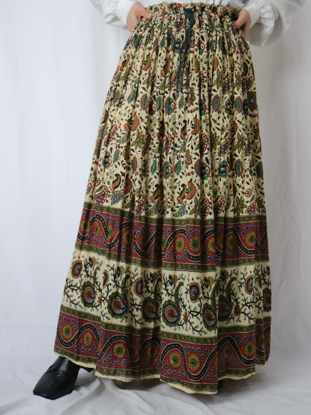 India cotton botanical pattern gather skirt【5552】