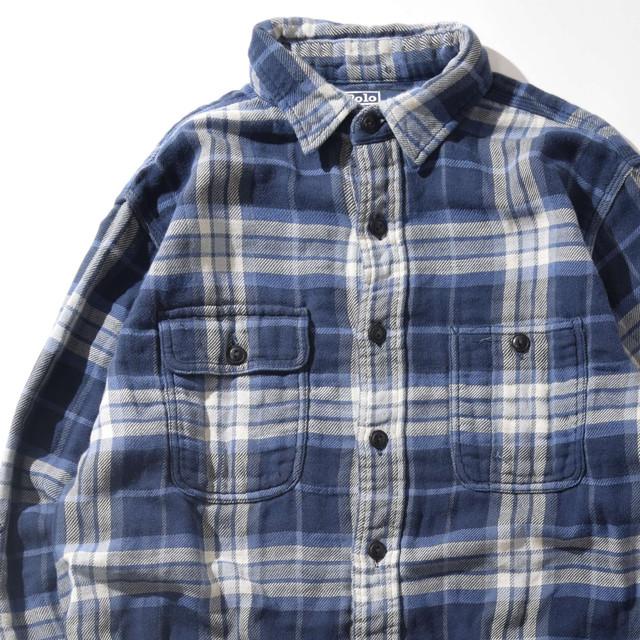 【Lサイズ】POLO RALPH LAUREN ポロラルフローレン CHECK SHIRT チェックシャツ BLUE ブルー L 400602191013