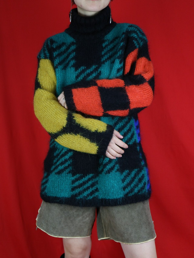 block  pattern turtleneck sweater【0556】