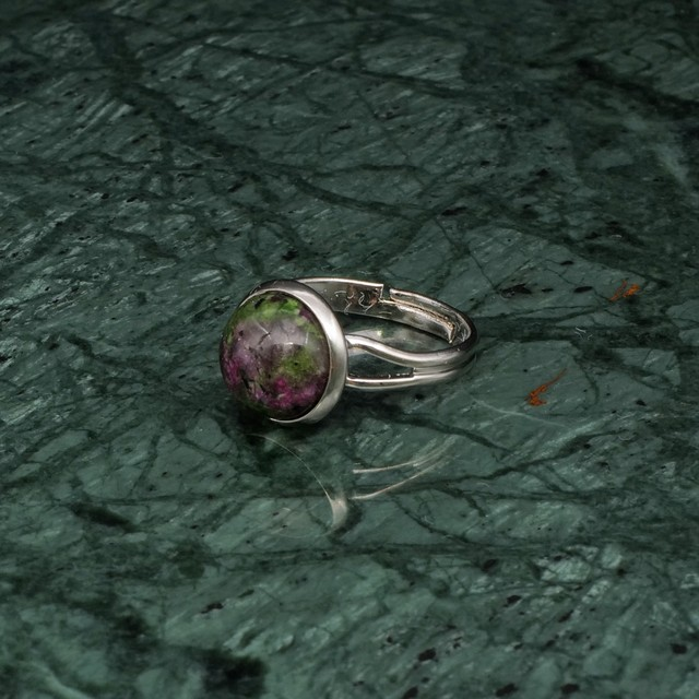 ROUND STONE RING SILVER 006