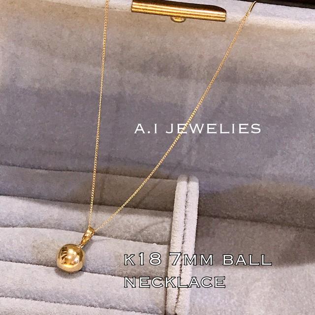 K18 7mm 丸玉 ネックレス 18金 necklace ball design ボール