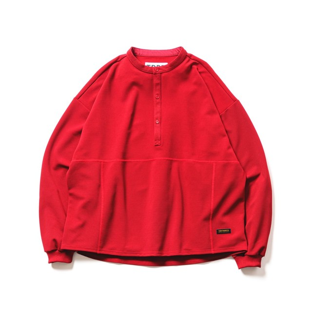 TIGHTBOOTH BAND COLLAR RIPPLE SHIRT RED