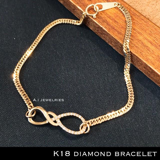 k18 18金 インフィニティ 天然 ダイヤモンド 天然石 ダイヤ ブレスレット  6面 ダブル チェーン / k18 diamonds bracelet 6 cut double chain
