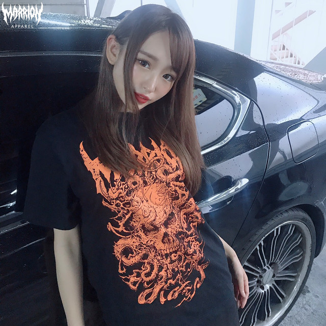 【Cotton100%】ahot×marrionapparel「SKULL TENTACLE」 TEE (Black×Orange)