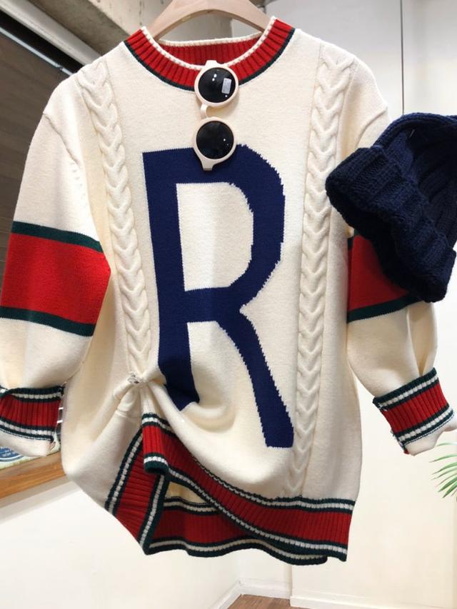 ビンテージカラーコンビニット ニット セーター 韓国ファッション
