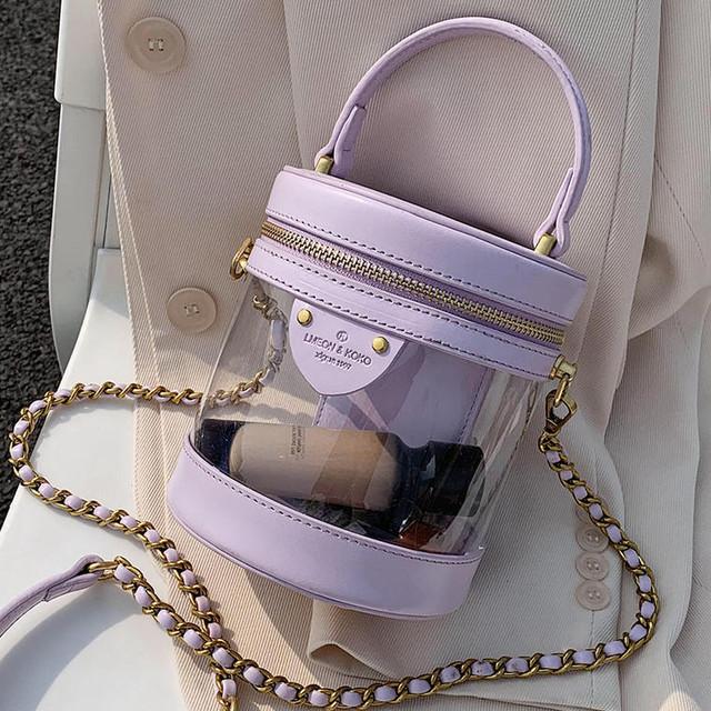 【送料無料】 可愛さもトレンド感もバッチリ♡ バケツ型 クリアバッグ PVC 透明 ハンド ショルダーバッグ パステルカラー