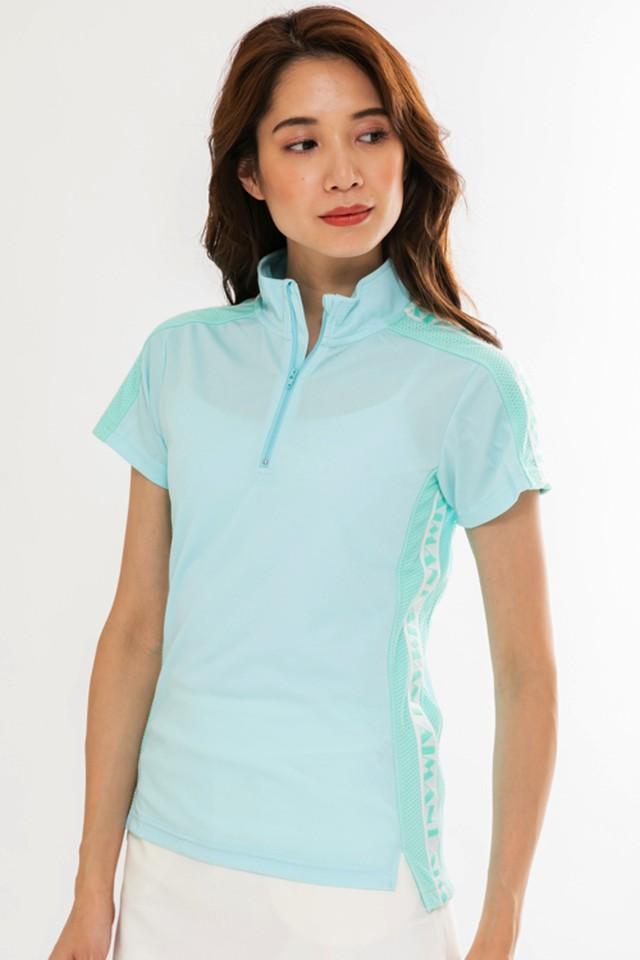 ロゴラインハイネックメッシュポロシャツ(WOMEN)/ミント:1808091
