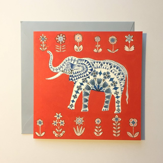Large Sq Card - Red Elephant