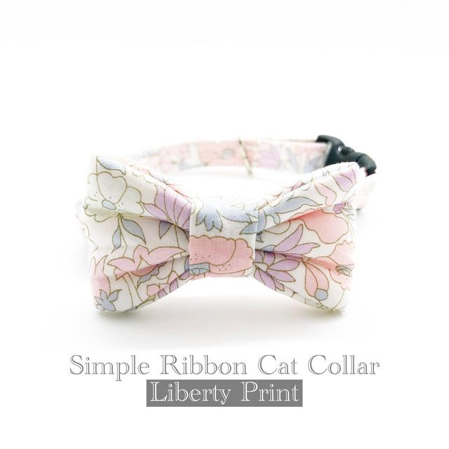猫 首輪 シンプルリボン ライトピンク 花柄 リバティプリント × Poppy&Daisy