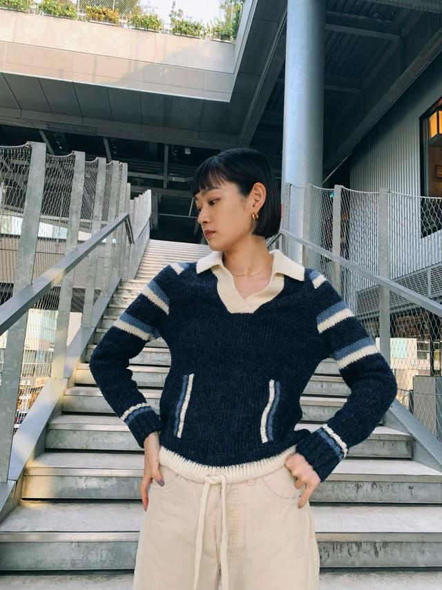 (KN023) Mohair open collar knit