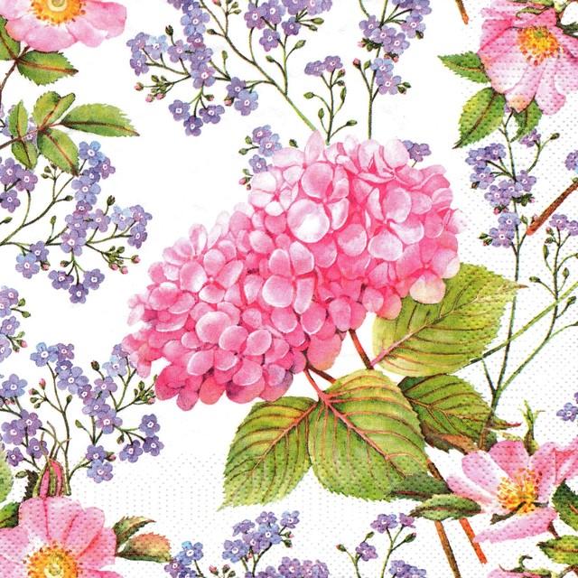 【Maki】バラ売り2枚 ランチサイズ ペーパーナプキン Pink Hydrangea and Forget-Me-Not ホワイト