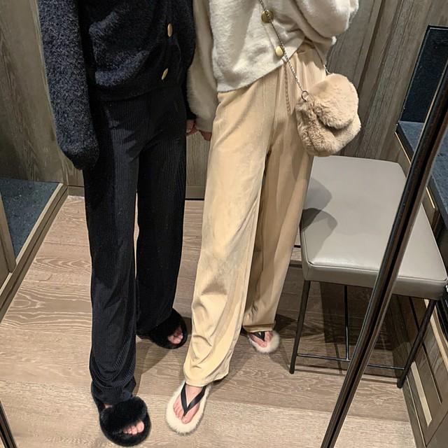 サイドボタンニットパンツ ニットパンツ 韓国ファッション