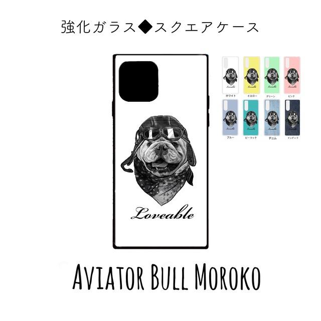 スクエア型 強化ガラスiPhoneスマホケース【フルールパティ】チワワデザイン 受注生産