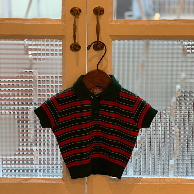 【KIDS】70's 〈Createx Jeunesse〉Striped Cotton Polo Top - French - Size 9 months