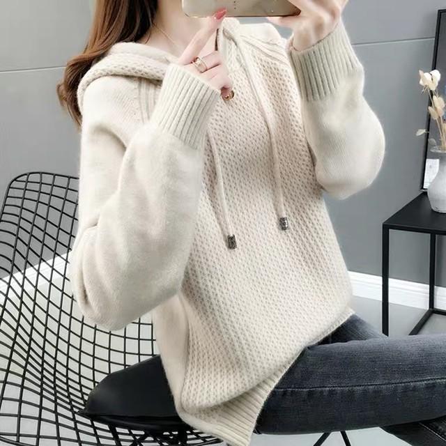 シンプルガーリー♡フード付きニットセーター A0410
