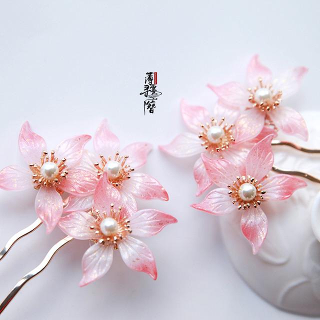 【薄霧尋簪シリーズ】★髪飾り 簪★ チャイナ風飾り物 手作り 花火大会 成人式 お祭り ピンク 可愛い