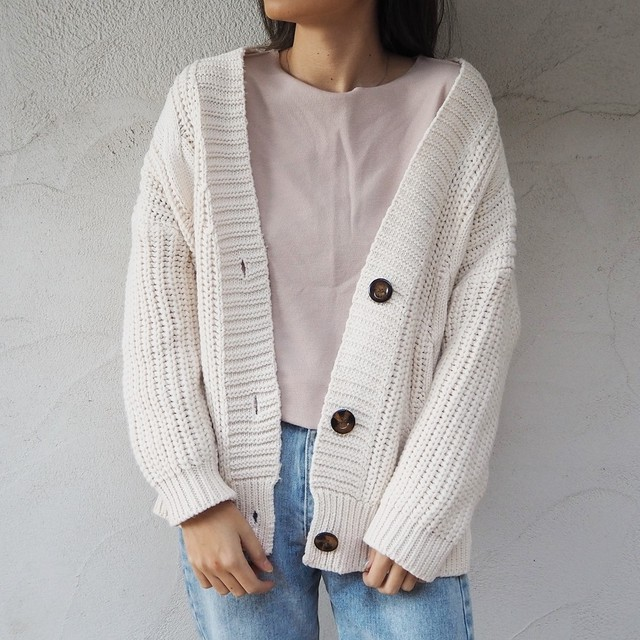 Cable Knit Cardigan《IVR》19383101★S2