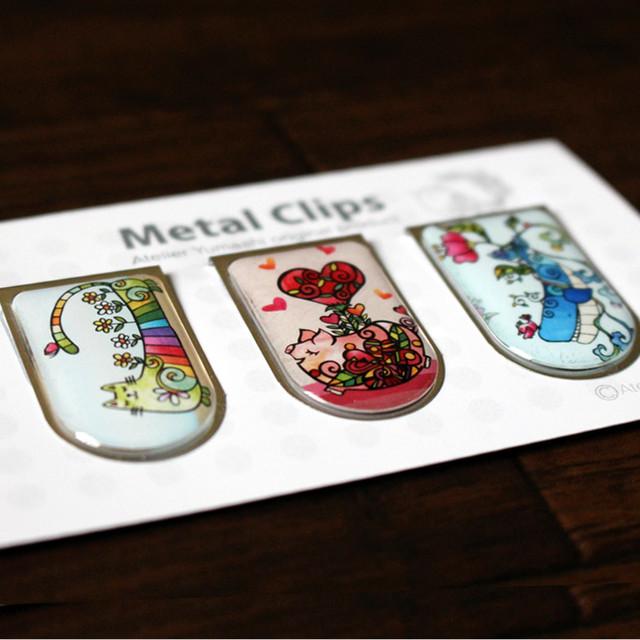 メタルクリップ 3個 Bセット(虹色の猫、ハートのこぶた、くじらさんと一緒)