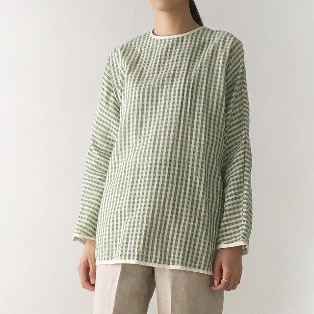 """Over Size Pullover """"green gingham check"""""""