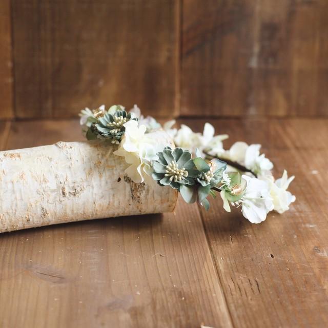 花かんむり aqua gold アーティフィシャルフラワー フリー