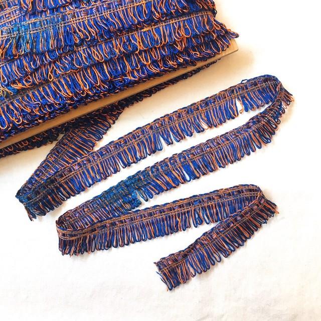 ベルギーリボン(ブルーxオレンジフリンジ)