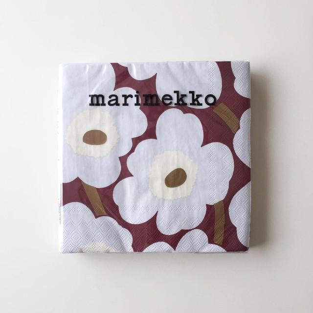2020秋冬新作【marimekko】ランチサイズ ペーパーナプキン UNIKKO ボルドー 20枚入り