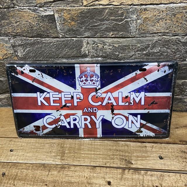 ✴︎ナンバープレート✴︎ KEEP CALM CARRY ON ユニオンジャック イギリス 国旗 インテリア雑貨 アメリカ雑貨 プレート