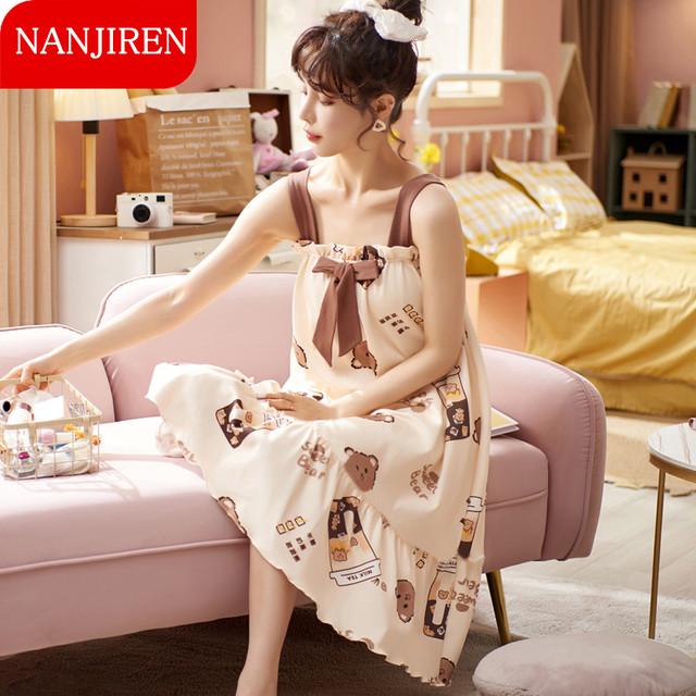 【NANJIRENシリーズ】★チャイナ風パジャマ★ つりワンピース 熊 クマ 部屋着 ルームウェア ファッション