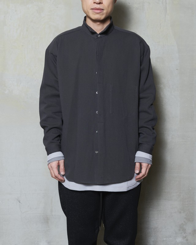 T/f double face cotton collar shirt - stone