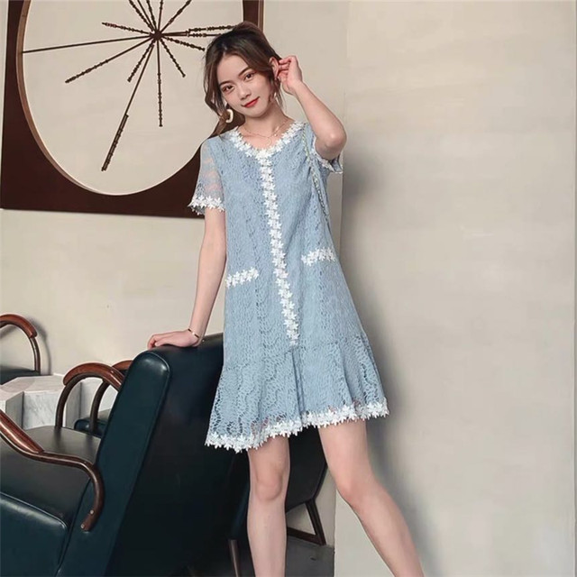 【dress】エレガント半袖着痩せ気質アップ配色デートワンピース