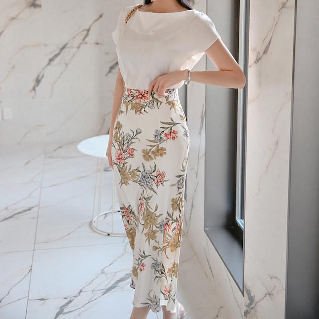 トレンド 夏物 新作 スカート 半袖 シャツ ミディアム丈 セットアップ 無地 花柄 通勤