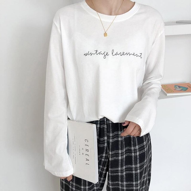 【mamagirl掲載】◆即納◆刺繍 レタリング 長袖 Tシャツ ロンT NW-42-48