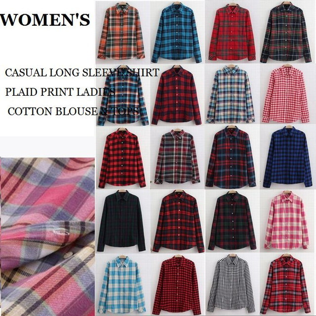 CASUAL LONG SLEEVE SHIRT PLAID PRINT LADIES COTTON BLOUSE & TOPS / カジュアルロングスリーブチェックシャツ (ABB20)