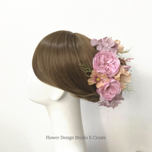 コスモスと薔薇のヘッドドレス 結婚式 ウェディング 薔薇 コスモス 紫陽花