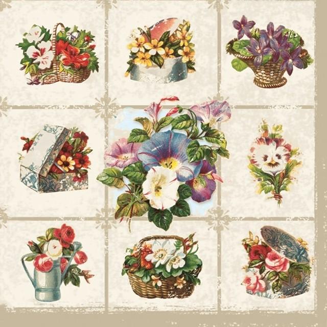 【Daisy】バラ売り2枚 ランチサイズ ペーパーナプキン CHESSBOARD WITH GARDEN FLOWERS ナチュラル