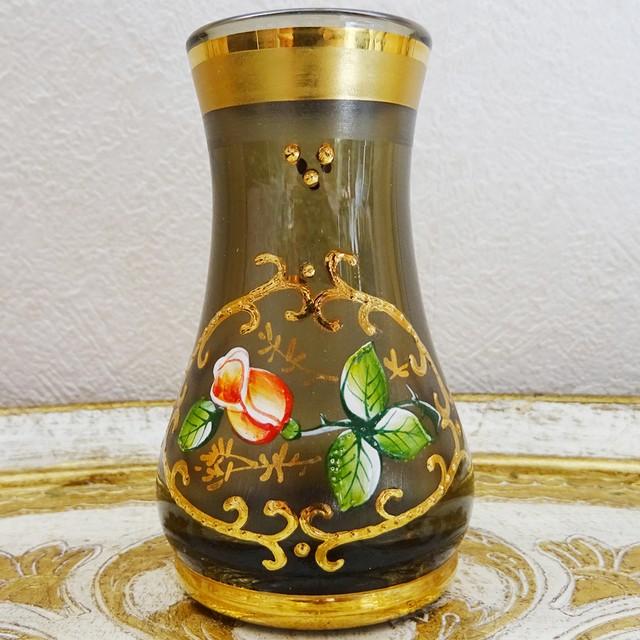 チェコスロバキア 薔薇モチーフのミニフラワーベース