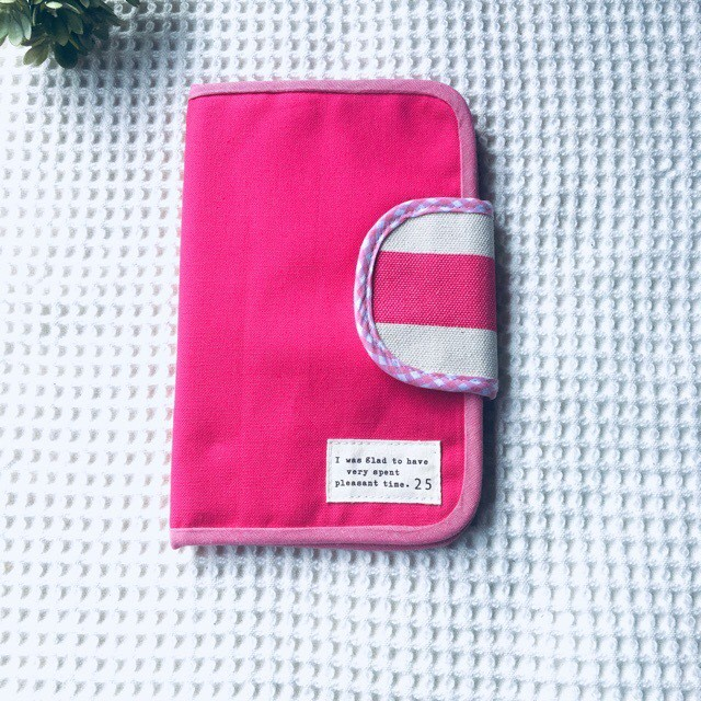 母子手帳ケース ビビットピンク 帆布