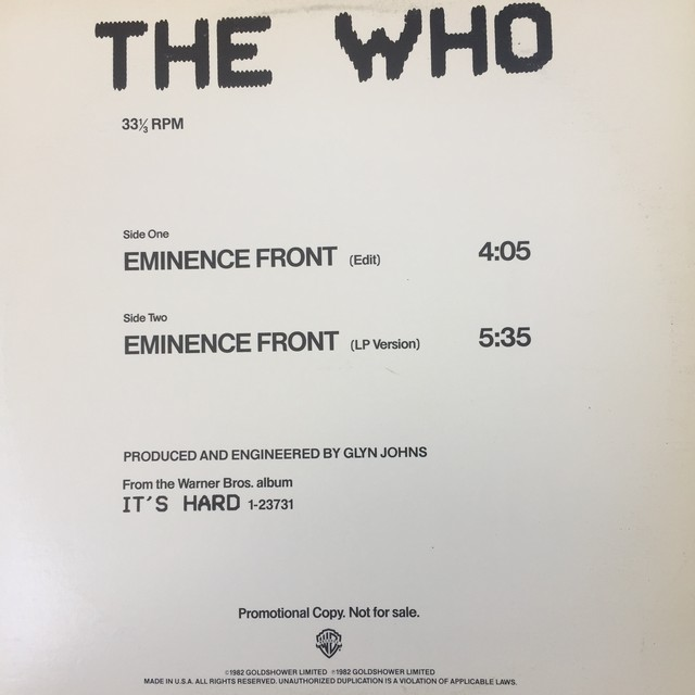 The Who ‎– Eminence Front
