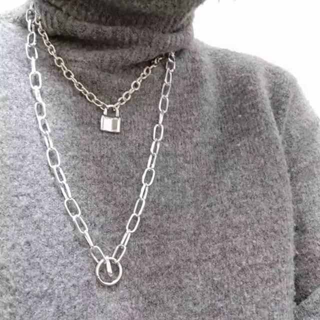 【STREET】ダブルチェーンリングネックレス