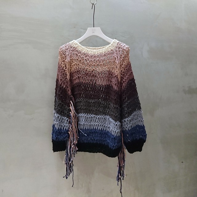 Maiami / DROPSTITCH SWEATER,MULTICOLOUR WITH FRINGES