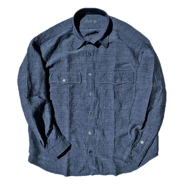 Porter Classic - ROLL UP BAMBOO LINEN SHIRT - NAVY [PC-016-1313]