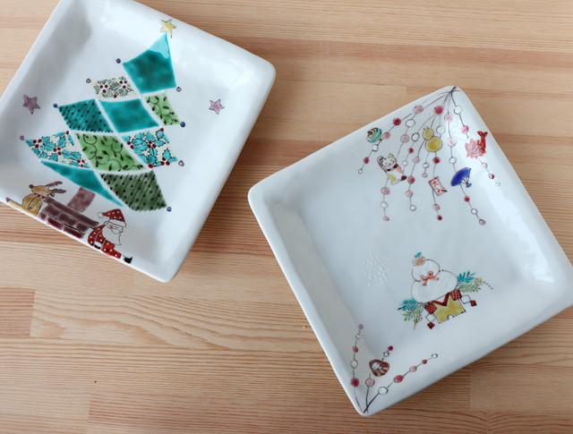 クリスマスプレート&お正月のお皿(色絵遊直売商品)