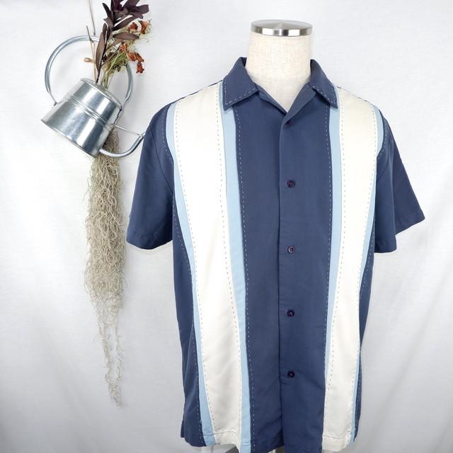 [M] Line Switching Open Collar Shirt | ライン切り替え オープンカラー 半袖シャツ