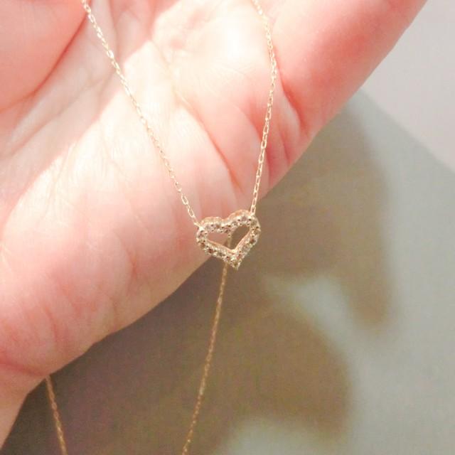 ハート型のダイヤモンドペンダント K18