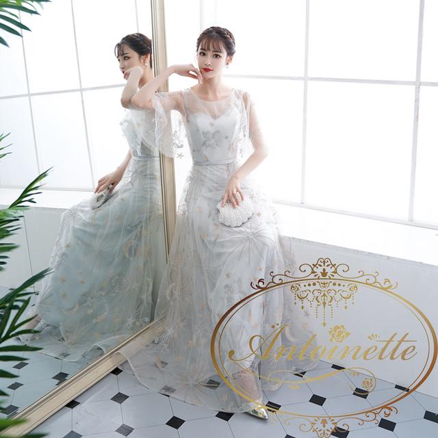 レディース マーメイド チュールドレス ウェディングドレス 特注品 ロングドレス ホワイト