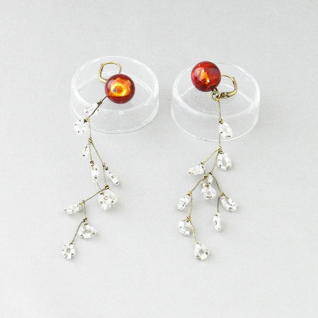 飛騨春慶のピアス 紅×箔/botanical[E321]