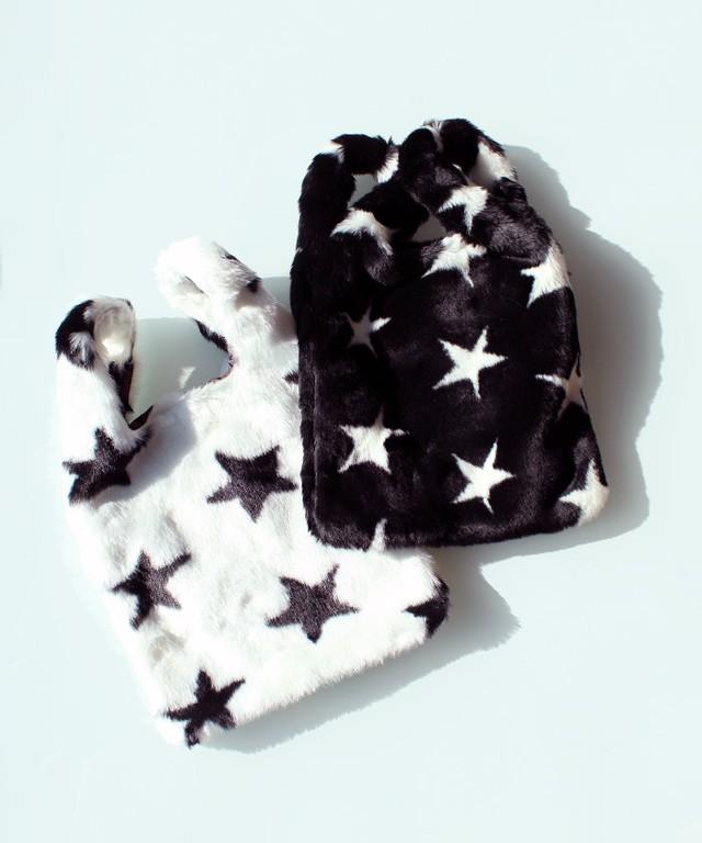 E01443:星柄フェイクファーショッパーバッグ