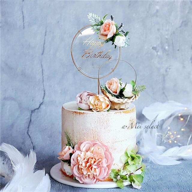 バースデーケーキトッパー【全4種類】華やかなゴールドフレーム ホームパーティー ケーキピック 誕生日ケーキ デコレーション 飾付け 装飾 パーティーグッズ 誕生日パーティー バースデーグッズ